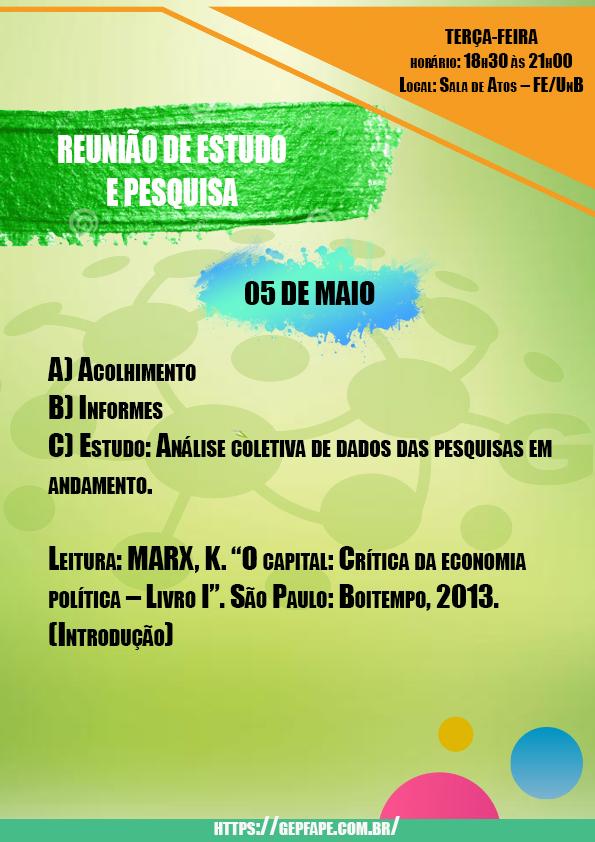 REUNIÃO - 05 DE MAIO