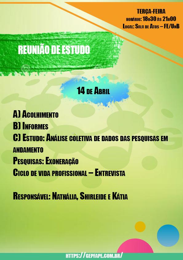 REUNIÃO - 14 DE ABRIL