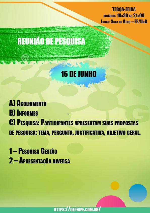 REUNIÃO - 16 DE JUNHO