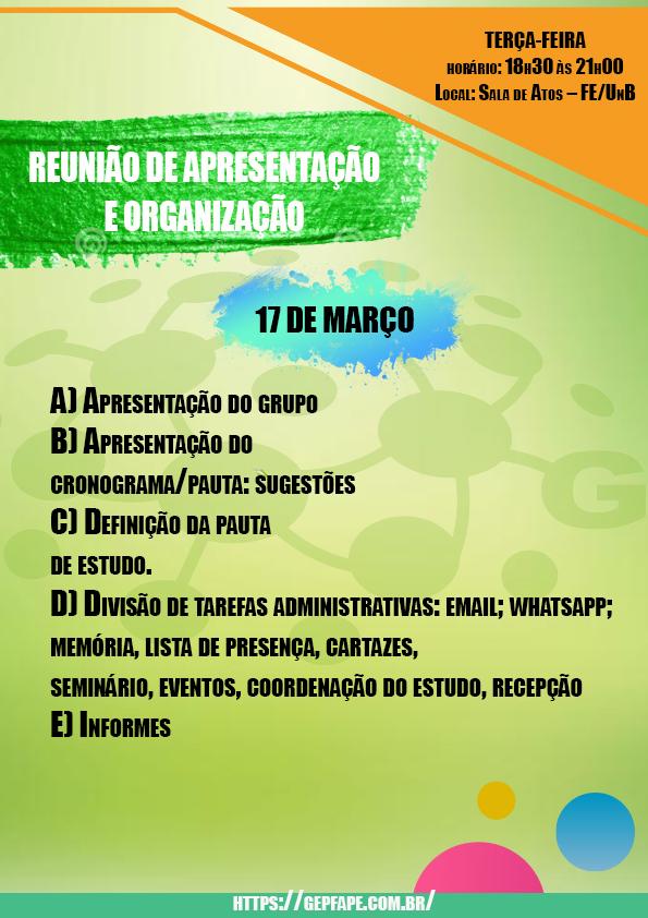 REUNIÃO - 17 DE MARÇO