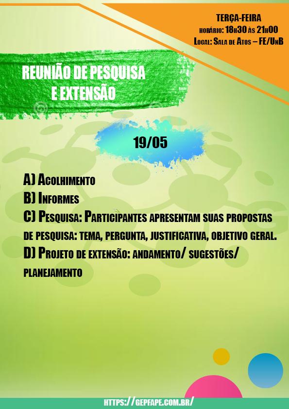 REUNIÃO - 19 DE MAIO